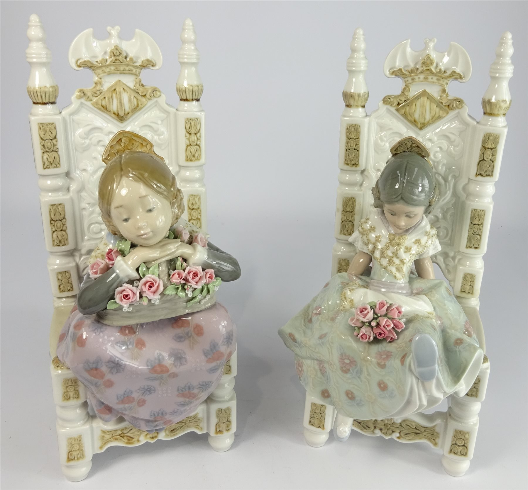 Another Pair Of Lladro Figures Of Girls Holding Flowers Seated In Throne  Like Chairs 27cm High ...