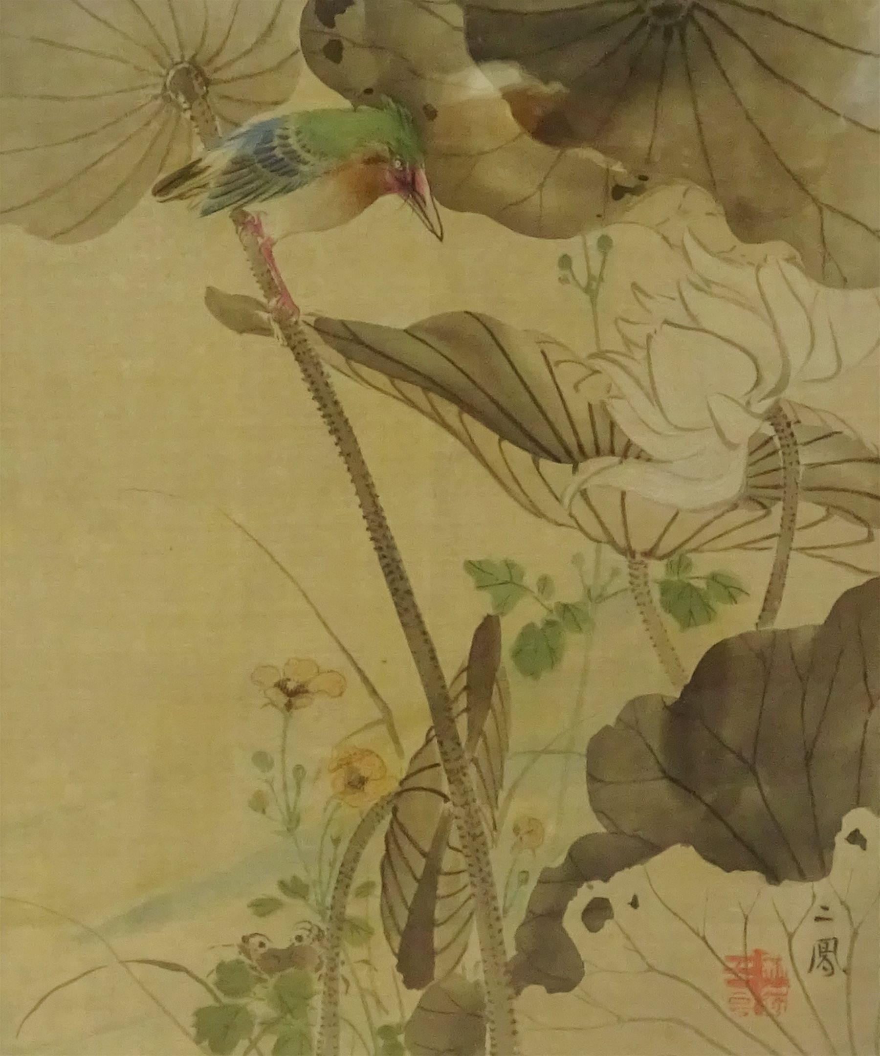 Chinese Painting On Silk Of A Kingfisher And Lotus Flower 24cm X