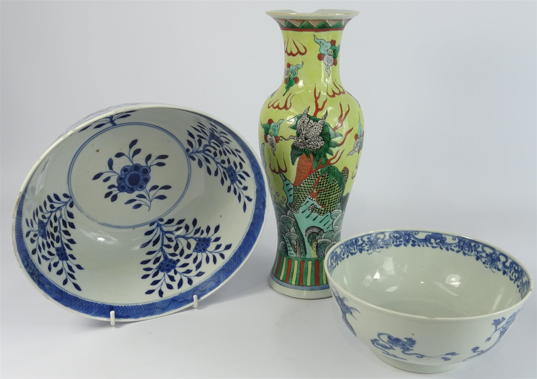 Chinese Bowl Decorated With Panels Of Flowers In Blue And White And