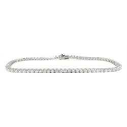 White gold round brilliant cut diamond line bracelet, stamped 18K, total diamond weight approx 2.65 carat