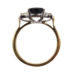 18ct gold three stone oval sapphire and diamond ring, hallmarked, sapphire approx 2.60 carat, total diamond weight approx 0.45 carat
