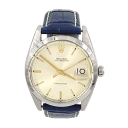 Rolex Oysterdate Precision gentleman's manual wind stainless steel wristwatch, model No. 6694, serial No. 1143913, calibre 1215, on blue leather strap