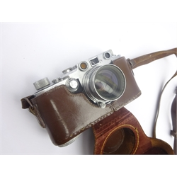 Leica DRP Ernst Leitz Wetzlar camera, probably a 111F, in leather case