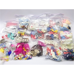 Large quantity of Sindy and other fashion doll clothing including original garments and knitted items, boots and shoes and other accessories