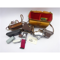 German King Regulette 35mm camera with Steinheil Munchen Cassar 1:2.8/45mm lens, in leather case and carrying bag with accessories, Olbia leather cased camera and Voigtlander folding camera in canvas case (3)