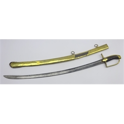 1st Empire Dragoon Officers sabre with engraved slightly curved blade, brass hilt and scabbard and wire wound grip.  Blade Length 76cms