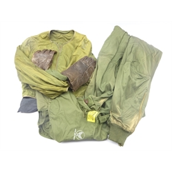 US Army Air Forces two-piece electric flying suit with leather gloves and shoe inserts