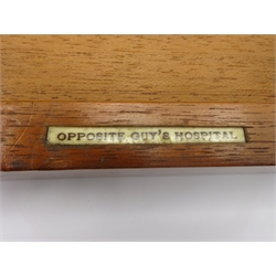 Early 20th century surgeons instrument case, with various instruments, by Down Bros Makers and stamped 'Opposite Guy's Hospital' in mahogany case, L75cm x D35cm x H11cm