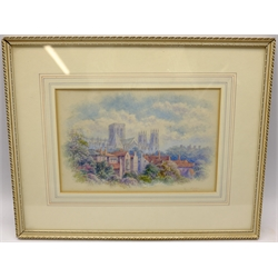 George Fall (British 1845-1925): 'York Minster', watercolour signed and titled 18cm x 27cm