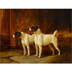George G Fryer (fl.1882-1885): Terriers in a Stable, oil on canvas signed and dated '87, 34cm x 44cm