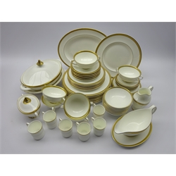 Royal Doulton 'Royal Gold' dinner and coffee service for six, plus extras