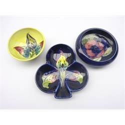 Moorcroft Clover shaped dish and yellow ground dish decorated in the 'Arum Lily' pattern & a small dish with inverted rim decorated in the Pansy pattern, D11cm (3)