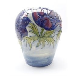 Large Moorcroft ovoid form Trial vase decorated in the Anemone pattern, designed and signed by Walter Moorcroft, 24.07.89, H30cm