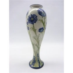 Early 20th century James MacIntyre & Co Florian Ware vase of tall slender inverted baluster form decorated with Poppies by William Moorcroft, printed and incised signature marks, H29.5cm