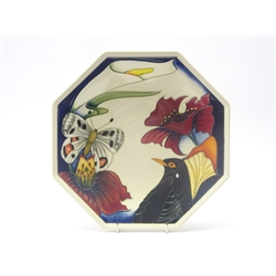 Moorcroft Designers Medley octagonal plate with bird, butterfly and stylized flowers, the reverse signed by various Moorcroft designers including Emma Bossons, Rachel Bishop, Kerry Goodwin etc & Hugh Edwards the Chairman of Moorcroft, dated 2007, boxed with outer cover, 24.5cm x 24.5cm
