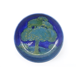 Moorcroft footed bowl decorated in the 'Moonlit Blue' pattern, impressed marks and signature to base, D15.5cm