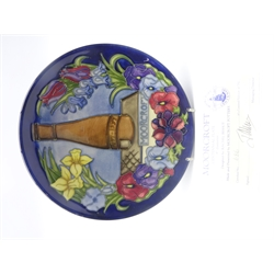 Moorcroft limited edition Centennial Plate 1897-1997 designed by Rachel Bishop, signed W.M 686/750, with certificate, D22cm