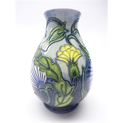 Moorcroft Special Events Rough Hawk's Beard vase designed by Rachel Bishop. This piece was commissioned exclusively to be available only at events worldwide where John Moorcroft made an appearance in 1997, signed in gold pen, boxed with certificate, H14cm