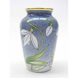Small Moorcroft enamel vase decorated with Snowdrop's designed by Rachel Bishop, boxed H7.5cm