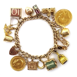 Gold curb chain bracelet, stamped 9 375, with thirteen 9ct gold charms, hallmarked, one other gold mounted fob and two sovereigns dated 1908 and 1912, approx 56.6gm