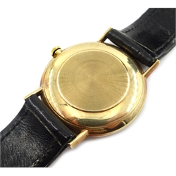 Gentleman's Omega 9ct gold wristwatch, c.1965 on original black leather strap and in original case