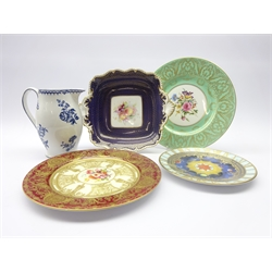 Early 20th century Royal Worcester cabinet plate, the centre painted with flowers by E. Phillips within a gilt scroll border on Burgundy ground c1912, Royal Worcester two handled serving dish painted with fruit c1900, Booths 'Peony' pattern jug c1905 & two other Royal Worcester plates (5)