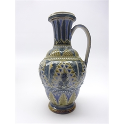 Doulton Lambeth stoneware ewer, decorated with geometric and floral decoration by Francis E. Lee no. 1877, H25cm