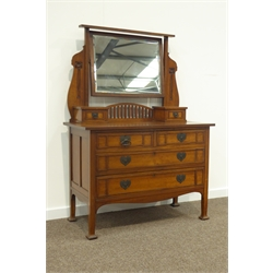 Late 19th/early 20th century oak Art Nouveau dressing table, rectangular bevelled swing mirror supported by two shaped uprights carved with flowers, two small trinket drawers to rectangular top above two short and two long drawers, splayed square pad feet, ash lined, retailed by 'Hudson & Hepper Leeds' plaque to rear, W107cm, H150cm, D49cm