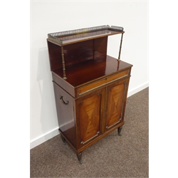 Small Regency rosewood chiffonier, galleried top tier supported by two turned gilt metal columns, rectangular top over drawer, two quarter rosewood and fruitwood veneer panelled doors with gilt metal moulded bead, single shelf to interior, four tapering ring turned feet with castors, W55cm, H102cm, D32cm