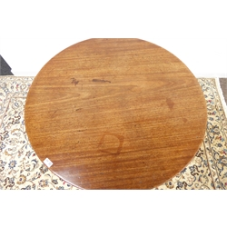 19th century mahogany circular pedestal table, circular folding top, turned base with three legs, D91cm, H72cm