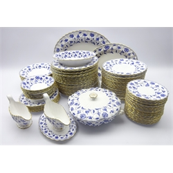 Spode 'Blue Colonel' ninety-seven piece dinner service comprising twenty-four dinner plates, side plates & tea plates, eight salad plates, eleven soup bowls, tureen and cover, two gravy boats, one with stand, oval serving dish and two graduating oval platters (97)