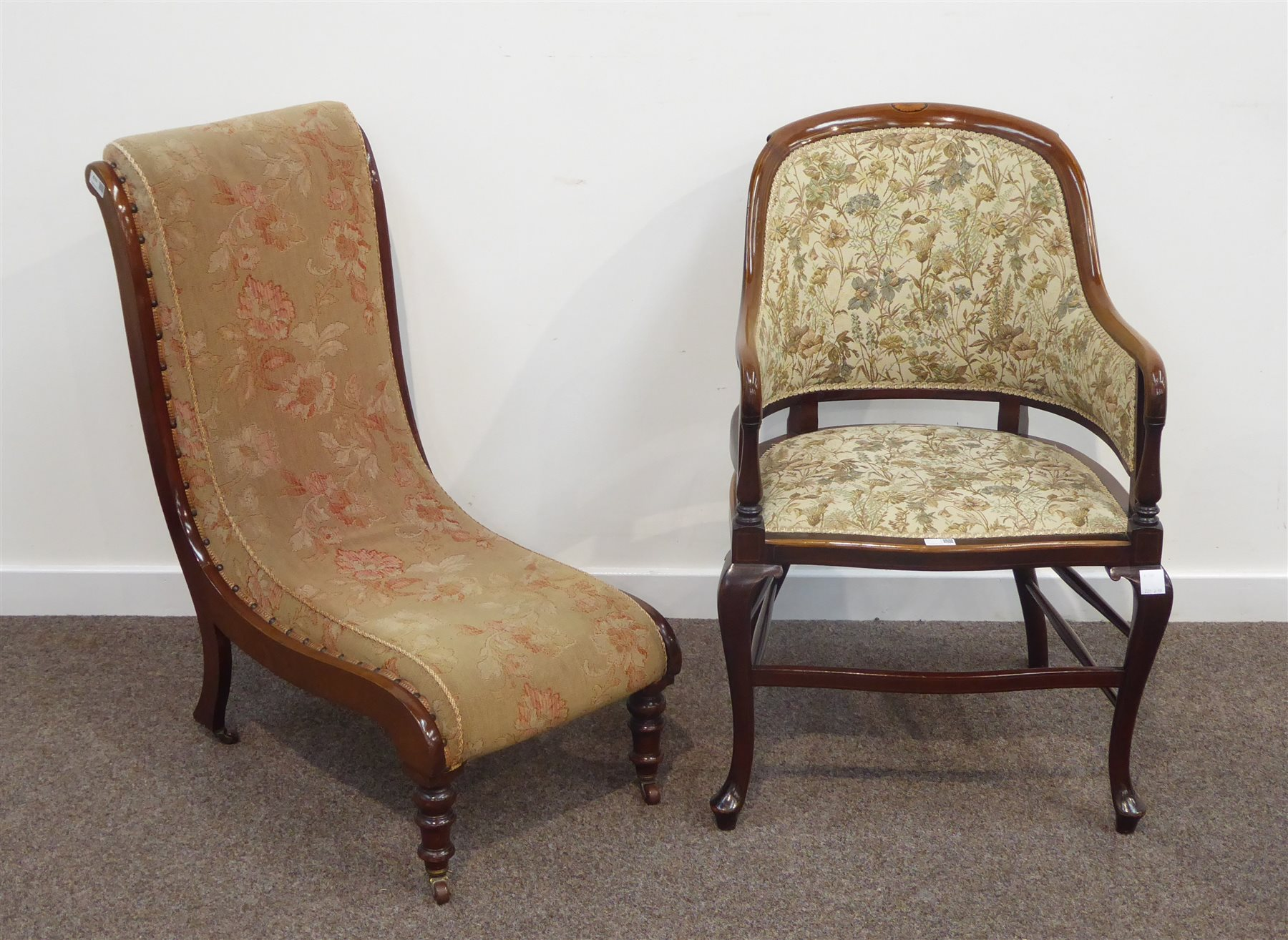 Victorian Mahogany Nursing Chair With Turned Front Supports And An