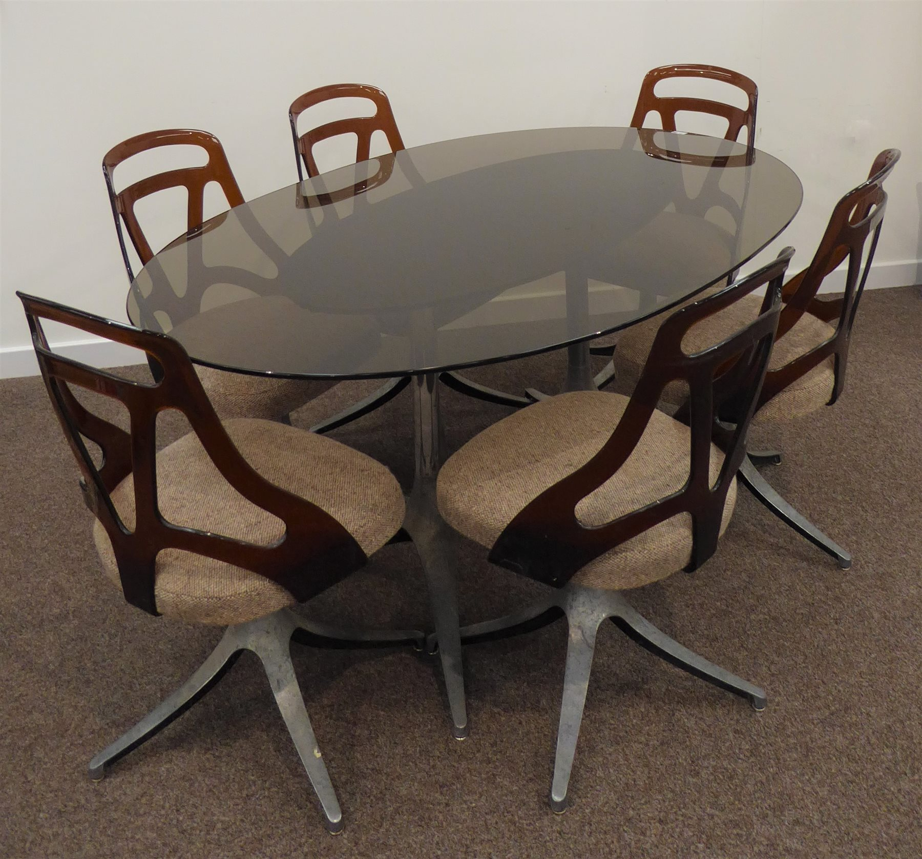 Prime 1970S Dining Table Oval Smoked Glass Top On Twin Chromed Cjindustries Chair Design For Home Cjindustriesco