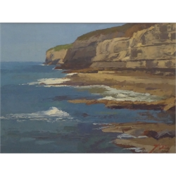 James Fry (British 1911-1985): Dorset Coastline, oil on board signed, artist's studio label verso 29cm x 39cm