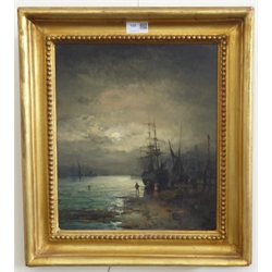 William Anslow Thornley (British fl.1858-1898): Estuary Shipping scene by Moonlight, oil on canvas signed 34cm x 29cm Provenance: private collection, purchased 1999