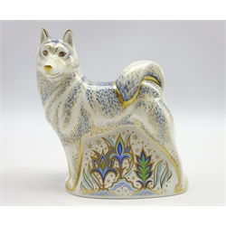 Royal Crown Derby paperweight 'Husky' with gold stopper, boxed
