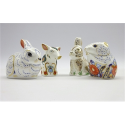 Four Royal Crown Derby Collectors Guild paperweights,'Snuffle', 'Nibbles', 'Bunny' and 'Poppy Mouse', all boxed and with gold stoppers