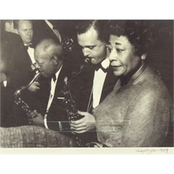 Terry Cryer (1934-2017)  Untitled gelatin silver print of Ella Fitzgerald, Stan Getz and Roy Eldridge dated 1959 probably at The Gaumont Kilburn, signed 26 x 35cms
