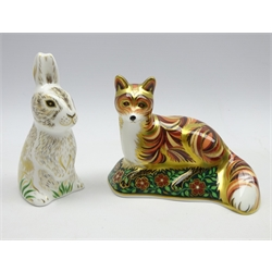 Royal Crown Derby 'Fox Cub' paperweight and another for the collectors guild 'Dandelion' both with gold stoppers and boxed