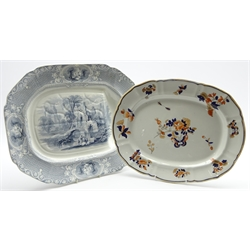Mid 19th Century Ironstone meat plate by Livesley Powell and Co. printed with the 'Abbey' pattern and with gravy well L49cms and a 19th Century Masons Ironstone meat plate