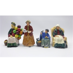 Four Royal Doulton figures Old Balloon Seller, Forty Winks, Teatime and Tupence a Bag (4)