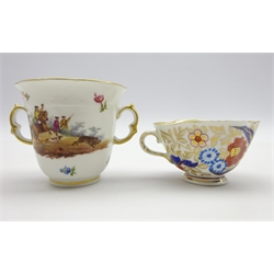 Berlin porcelain chocolate cup hand painted with hunting scene and quatrefoil shaped cabinet cup decorated in the Imari pattern (2)