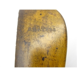 F H Ayres beech long nose putter stamped on head and on hickory shaft L90cms