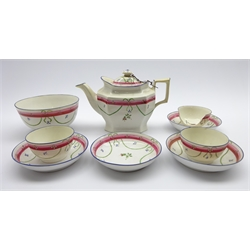 Early 19th Century Porcelain Part Tea Service decorated with floral sprigs comprising tea pot, waste bowl, 2 tea bowls and 4 saucers, Pattern 85