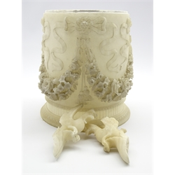 Late 19th/early 20th century Italian carved alabaster circular planter, decorated with ribbon ties and floral garland swags, bead and fluted base (H27cm), and two alabaster mythical bird carvings