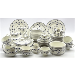 Royal Doulton Yorktown dinner and tea service including plates and bowls in various sizes, vegetable dish and cover, tea cups and saucers etc (73 pieces)