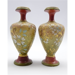 Pair of  Doulton Lambeth baluster vases with floral chine design with red and green glazed collar and foot H20cms