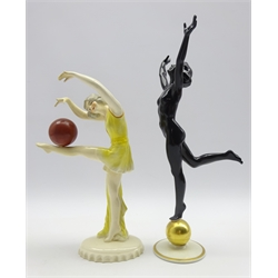Art Deco Hutschenreuther 'Sun Child' nude dancing lady upon a gold ball designed by Karl Tutter with back stamp and paper label to base, H34cm and another Art Deco figure of a dancing lady, unmarked (2)