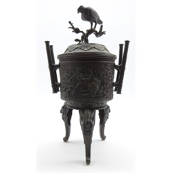 Late 19th Century Japanese bronze vase and cover, the lift formed as a bird on a branch, the body with birds and on triple animal head supports H44cms