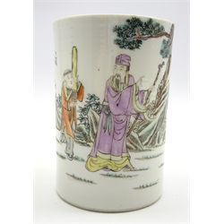 Chinese porcelain cylindrical brush pot decorated with figures and script and with 4-character mark to base H12cms